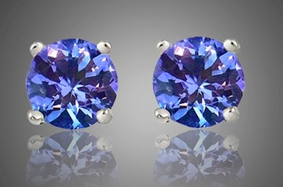 10kt Solid White Gold 2CTW Tanzanite Stud Earrings