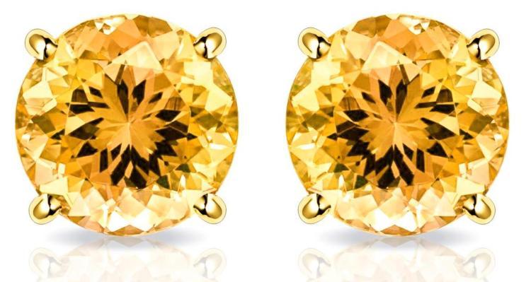 10kt Solid Gold 2CTW Genuine Citrine Stud Earrings