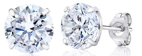 14kt Solid White Gold Stud Earrings with 4mm Princess Cut Swarovski Crystals