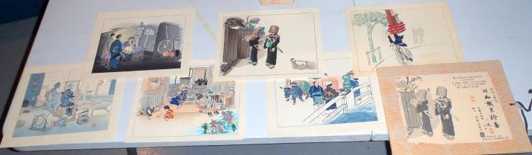 Set of (6) Japanese Wood Block Prints of Life & Customs of Japanese People by Kyoto Hanga