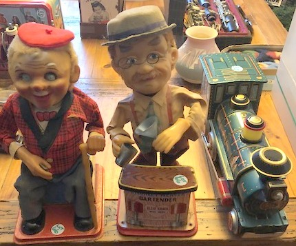(3) Vintage Battery Operated Tin Mechanical Toys-Charley Weaver Bartender, Old Sit-Up Man with Cane & Western Train Engine