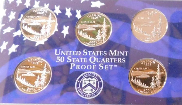 (8) 2005 US Proof Quarter Sets