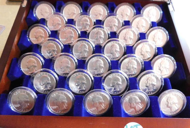 Rare Silver (32) Coin Set of Brilliant UNC Washington Head Quarters in Presentation Case