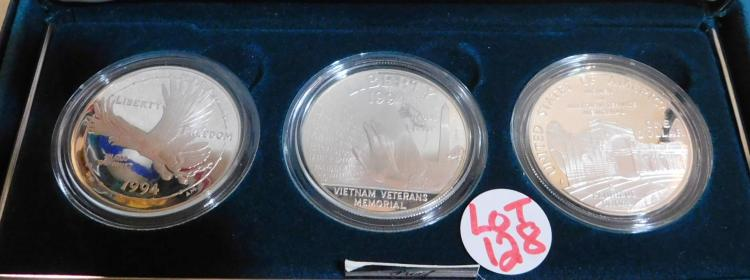 1994 US Silver Cameo Proofs Dollars from the US Veterans -(3) Coin Set