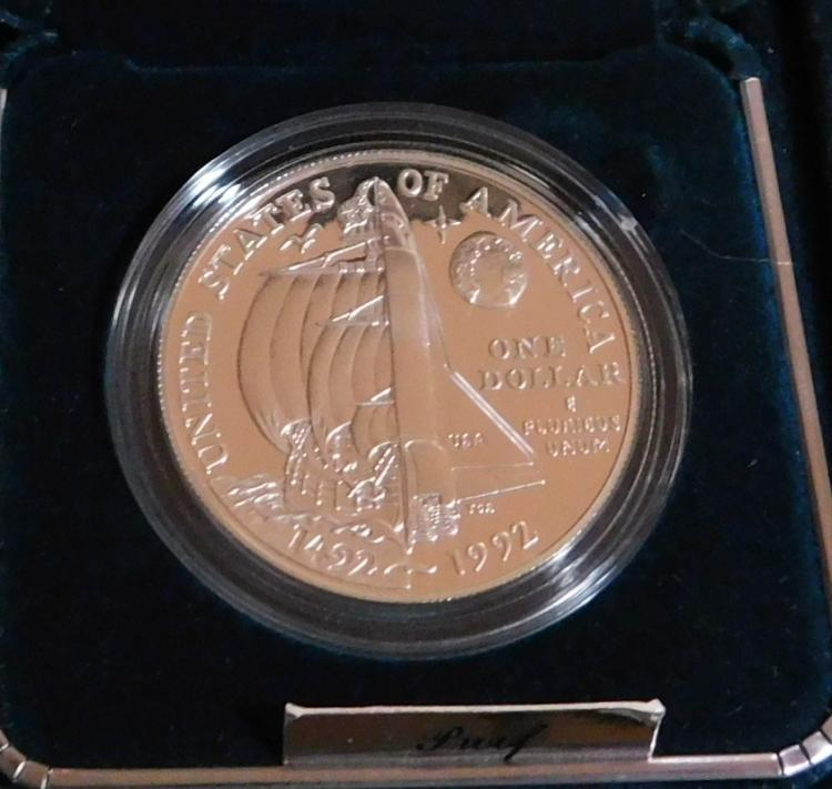 1492-1992 US Silver Cameo Proof Dollar of Christopher Columbus to the Space Shuttle