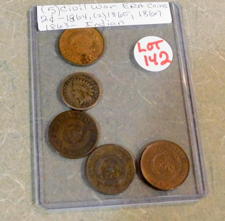 (5) Civil War Era Coins