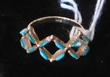 Ladies 14K Gold Ring with Turquoise Accents