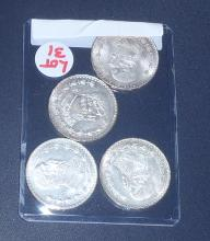 (4) Vintage Mexican Silver Dollars-Excellent Shape