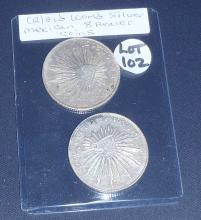 (2) Old World Mexican 8 Reales Silver Coins: 1879 & 1896