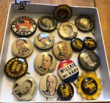 (16) Vintage Political Pin Backs