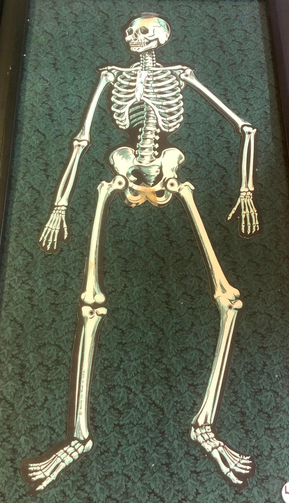 Lot 4: ORIGINAL BEISTLE JOINTED SKELETON MAN FRAMED DIE-CUT