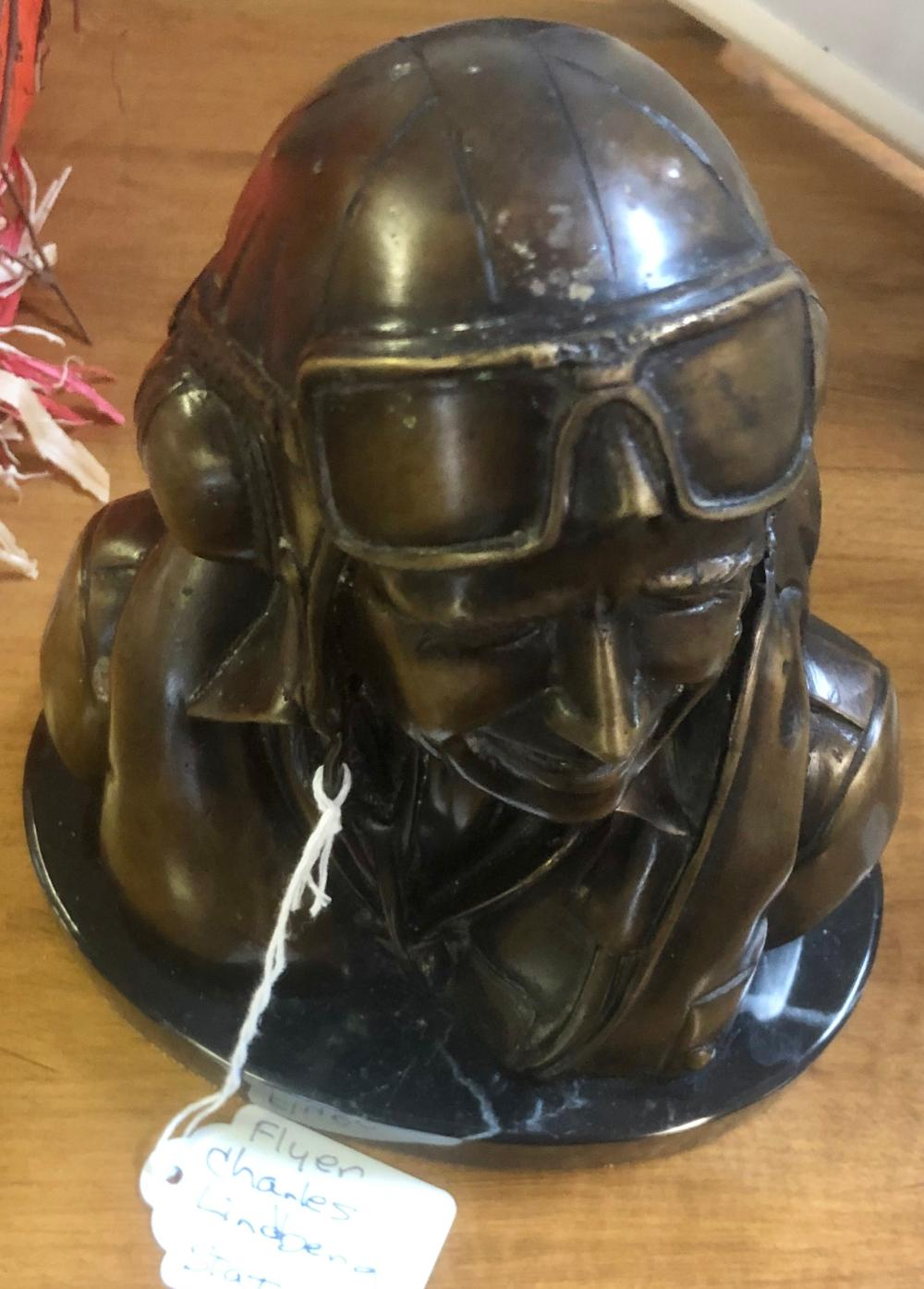 Lot 6: CAST BRONZE STATUE OF CHARLES LINDBERG-FAMOUS AIR PILOT-ON A MARBLE BASE