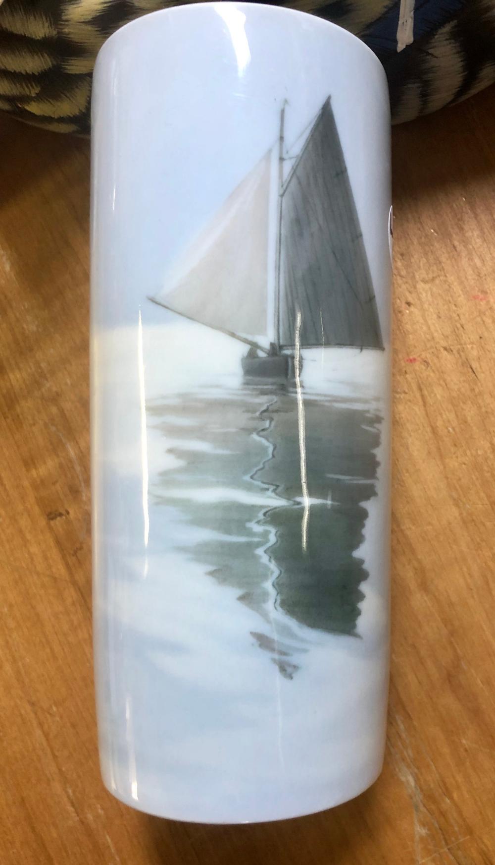 Lot 9: RARE ROYAL COPENHAGEN VASE WITH SAILBOAT ON OCEAN SCENE #4645/62B