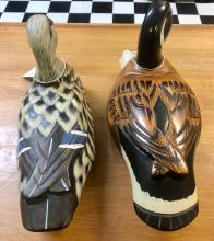Lot 18: (2) VINTAGE WOOD CARVED DUCKS-WELL DETAILED & PAINTED-UNSIGNED