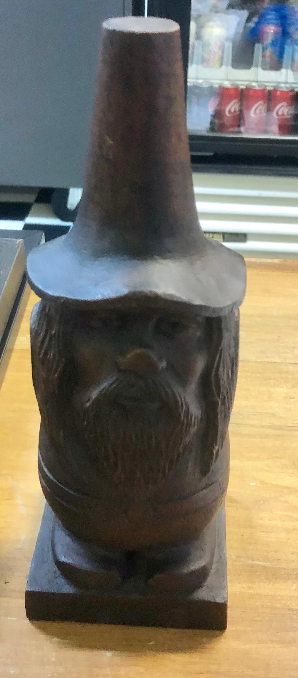 Lot 20: VINTAGE HAND CARVED MAN OF THE WOODS STATUE WITH TALL HAT-SIGNED CABRERA