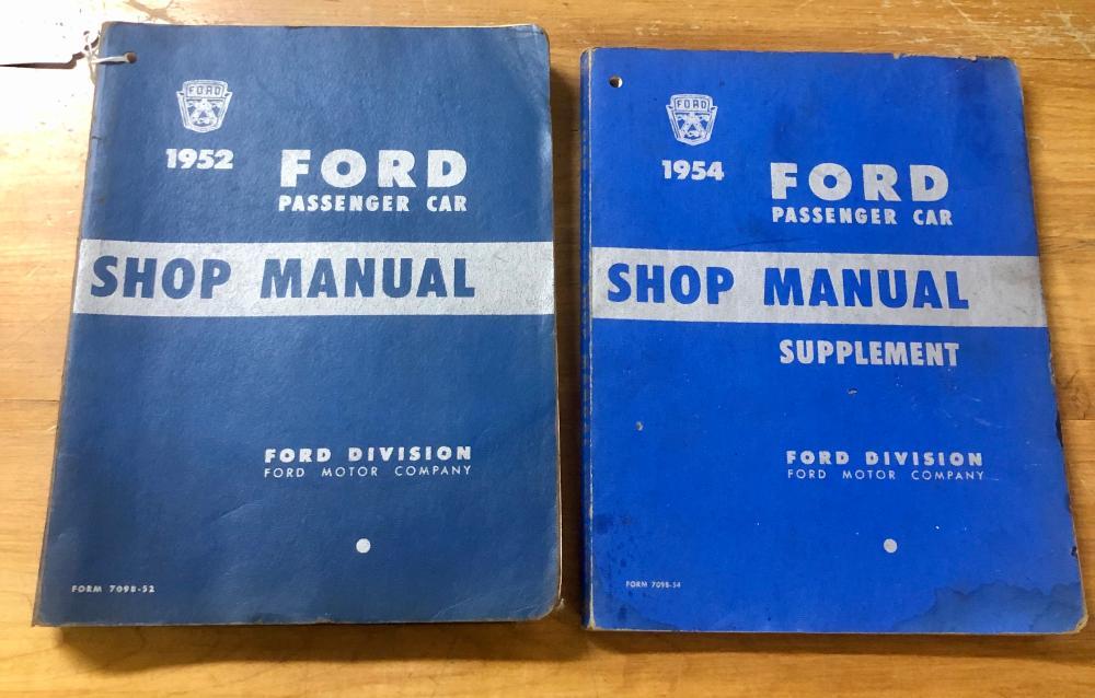 (2) VINTAGE 1952 & 1954 COMPLETE FORD PASSENGER CAR SHOP MANUALS-BLUE ORIGINALS