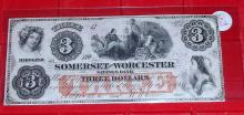 1862 UNC Confederate Maryland $3 Note
