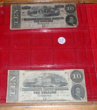 (2) 1863 & 1864 Confederate $10 Richmond Notes