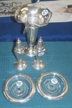 Sterling Vase, Salt & Pepper Set, (2) Sterling & Crystal Coasters