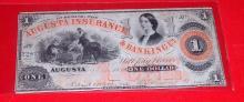 1861 Civil War Era Confederate Augusta Georgia Insurance & Banking One Dollar Bill