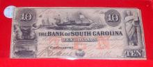 Rare 1861 Civil War Era Confederate Charleston South Carolina Ten Dollar Bill