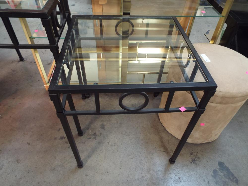 Very Nice Black Framed Side Table W/