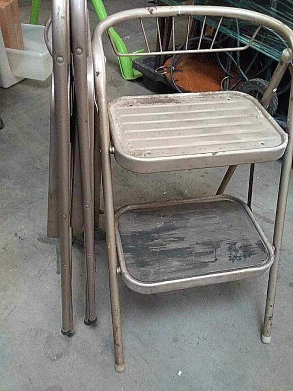 Sold Price Vintage Step Stool W 2 Metal Folding Chairs Invalid Date Mst