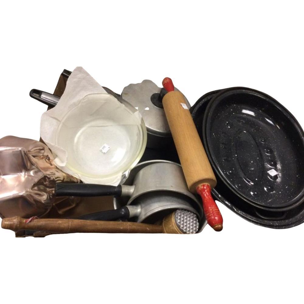 Roaster Pans, Rolling Pin, Pyrex Bowls,