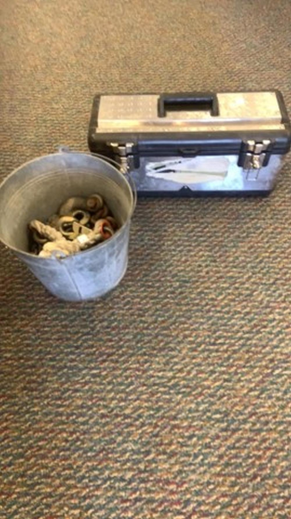 Tool box and bucket of chain
