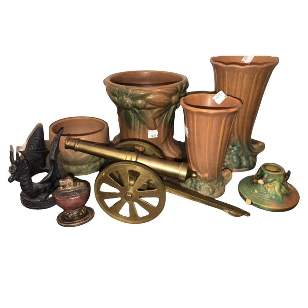 Roseville Pottery, Metal Canon Display & more
