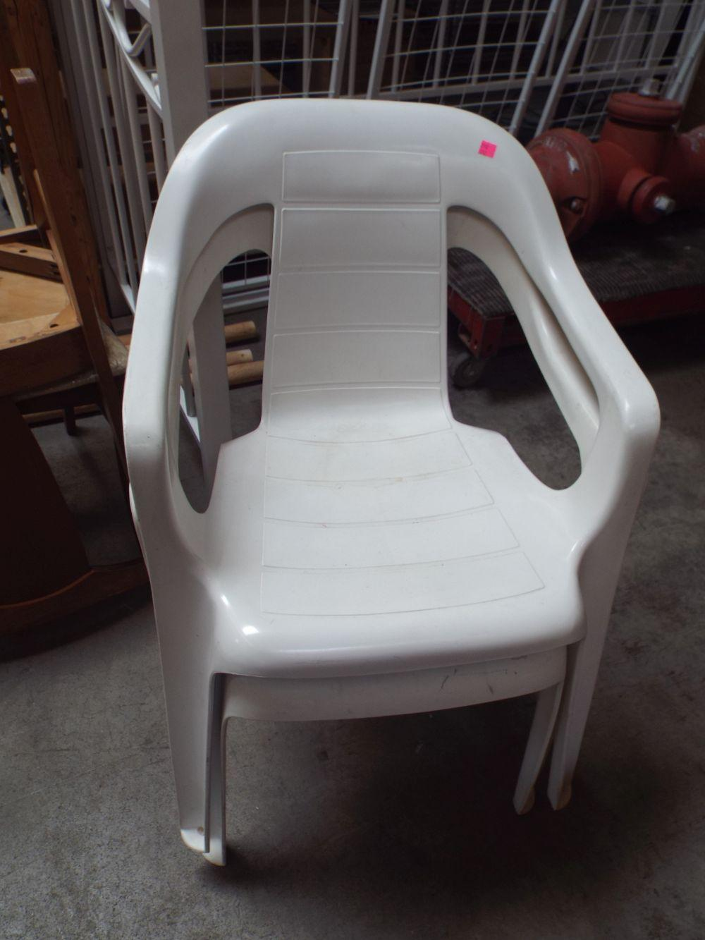 Sold Price Two White Plastic Lawn Chairs Invalid Date Mst