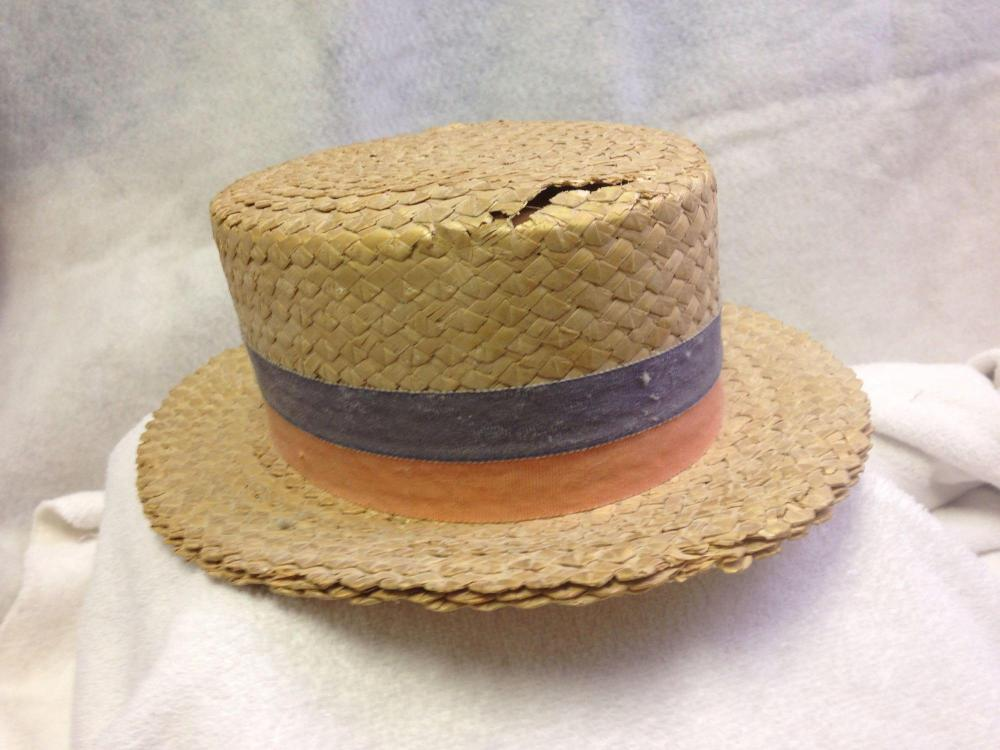 bcd3f41fe8548 Antique 1920 s Straw Boater Skimmer Hat