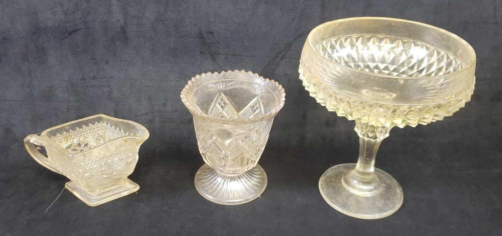 Lot of 3 Pressed Glass Items with Diamond Accents