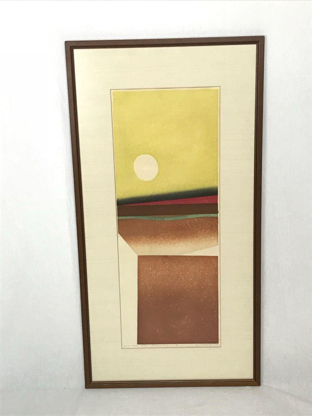 Woodblock Print, White Sphere Desert, Original by Ansei Uchima, Signed