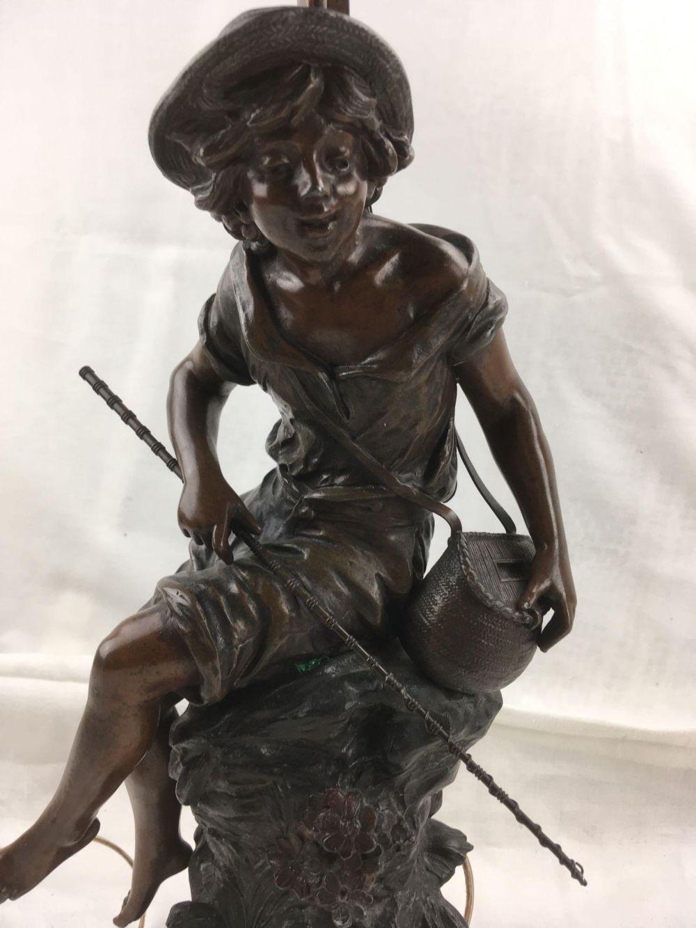 "Antique French Bronze Figural Table Lamp, ""Percheur"""