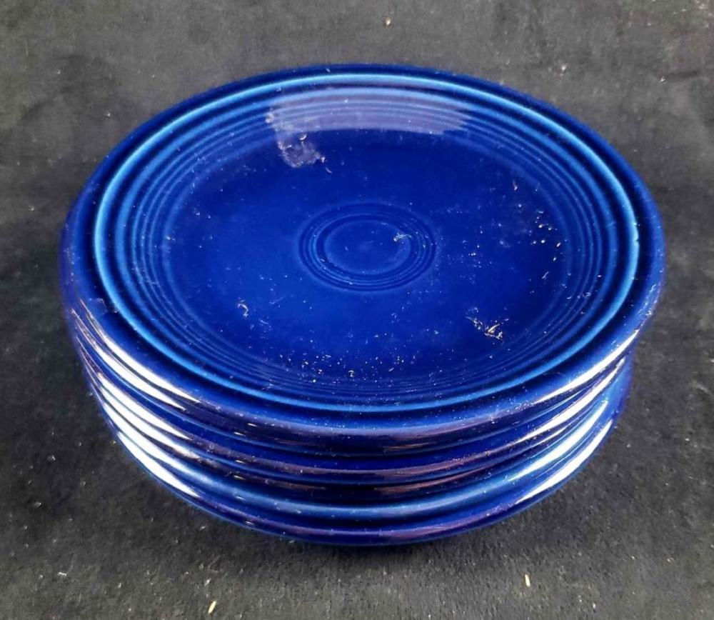 Set of 6 Cobalt Blue Homer Laughlin Fiesta Ware Salad Plates