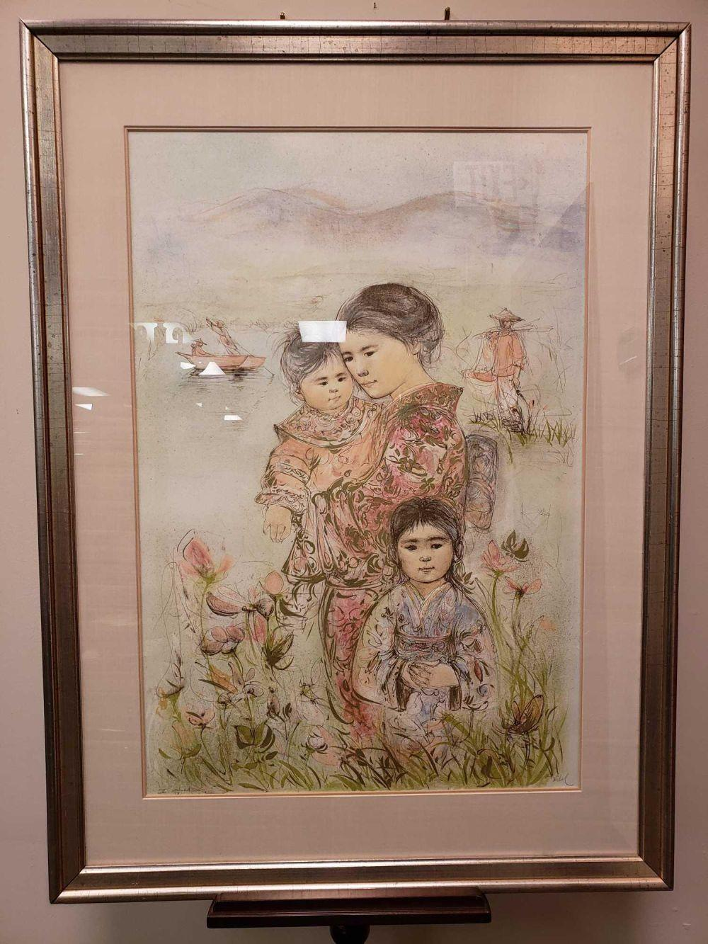 Edna Hibel Family of the Mountain Lake Signed Lithograph