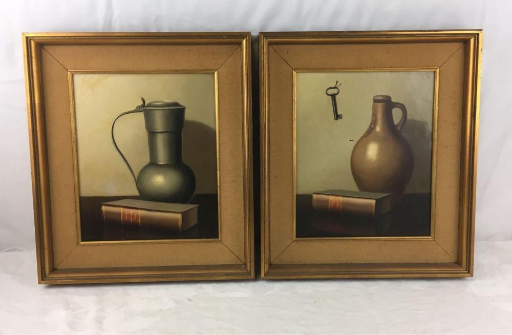 Pair of Original Still Life Oils by Nicolas Bruynesteyn