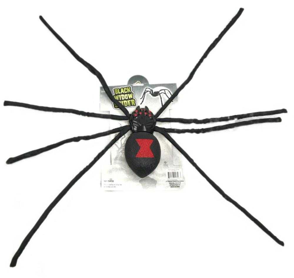 """NOS Halloween Black Widow Spider with 8"""" body and long legs"""