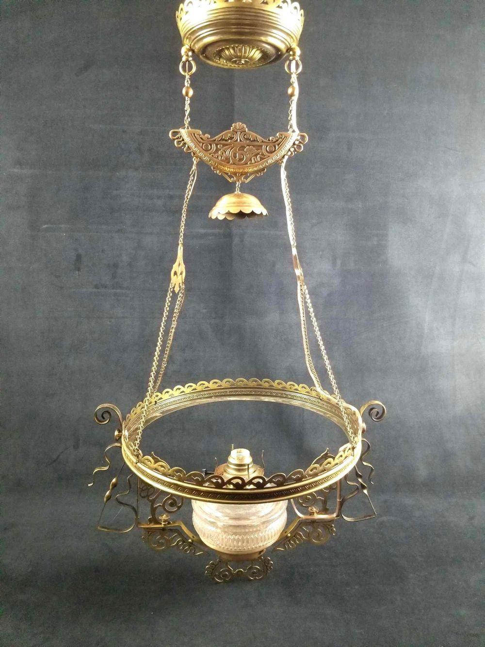 Late 1800s Solid Brass Gothic Art Deco Ornate Ceiling Hanging Light Fixture