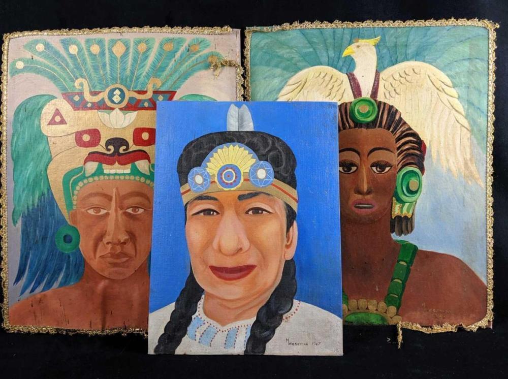 Native American Outsider Art Acrylic Paintings set of 3