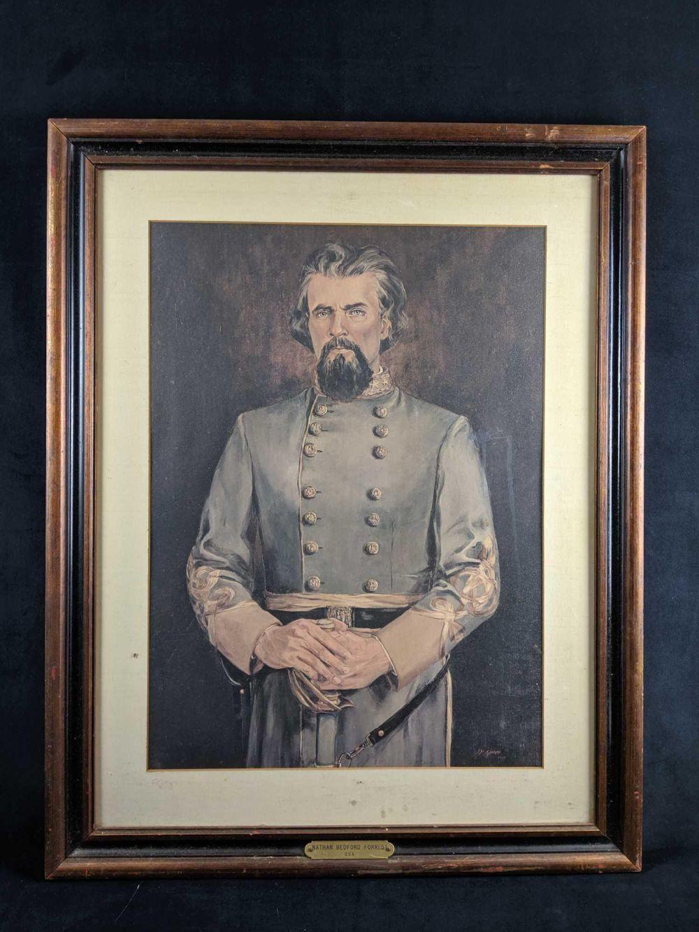 1973 JM Garner Nathan Bedford Forrest Framed Lithograph