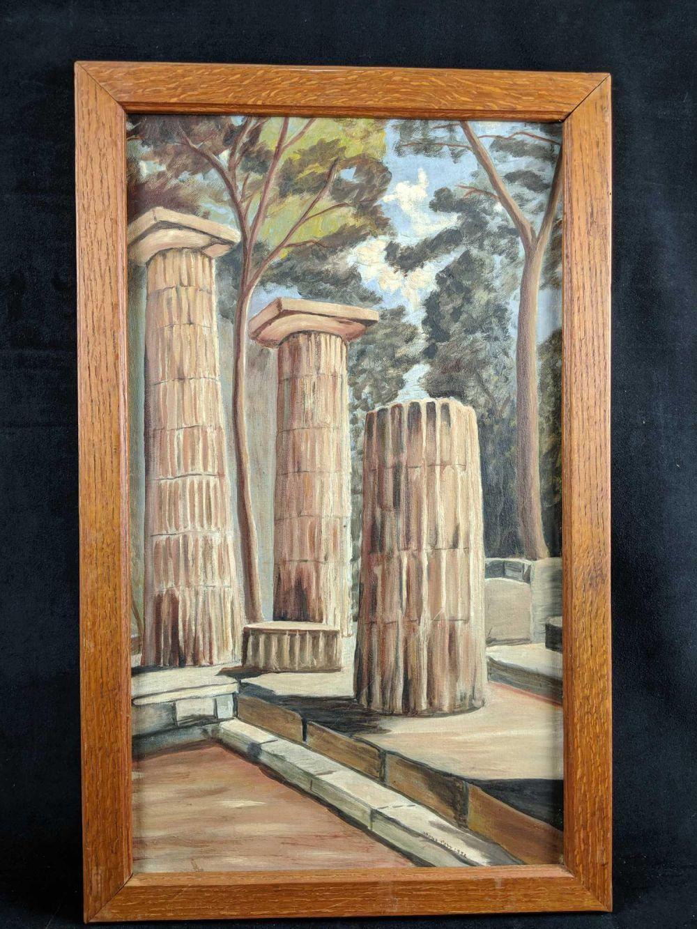 Original 17x27 Painting of Roman Columns