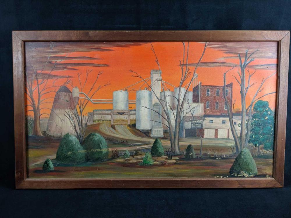 Original Painting Of Industrial Buildings