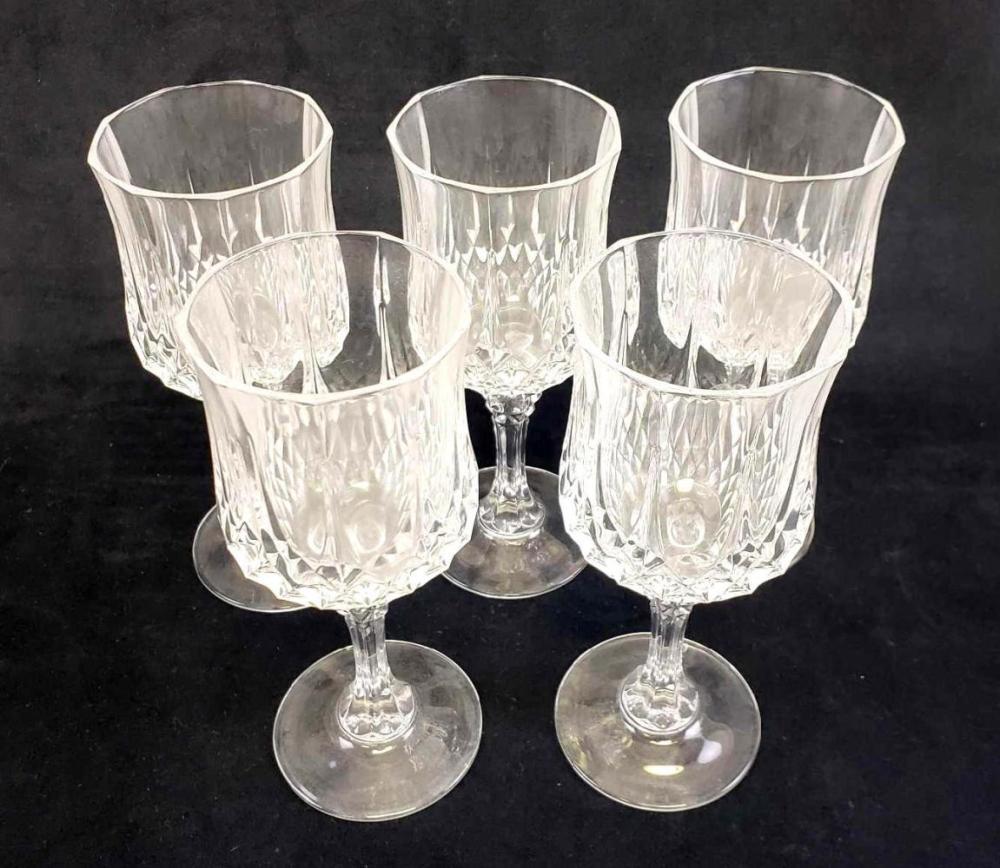 Set of 5 Cut Crystal Diamond Design Glasses