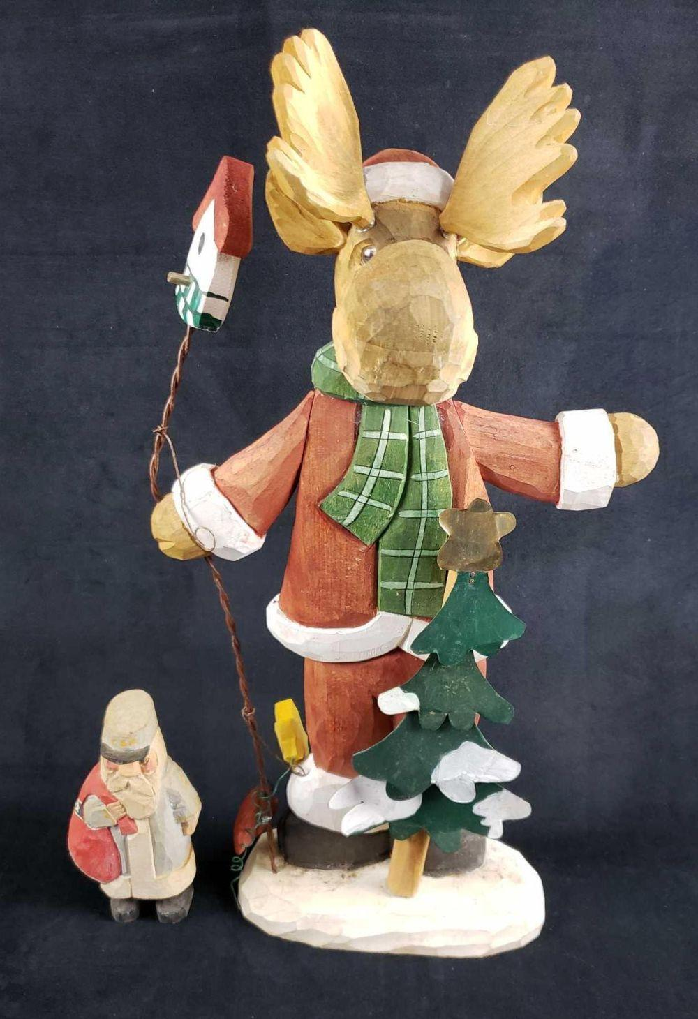 Two Carved Wooden Christmas Decorations