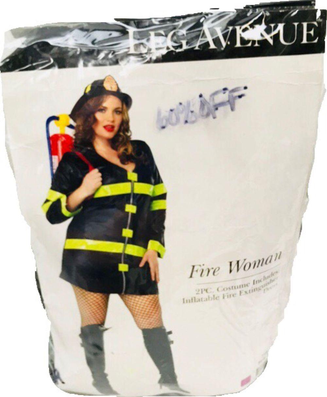 NOS Women's Holloween Costume Hot Spot Honey Firefighter Size 1x-2x Leg Avenue