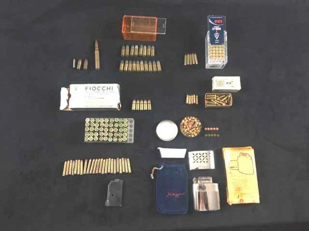 Vintage Ammunition of Various Calibers and .22 Caliber Magazine and Pocket Hand Warmer