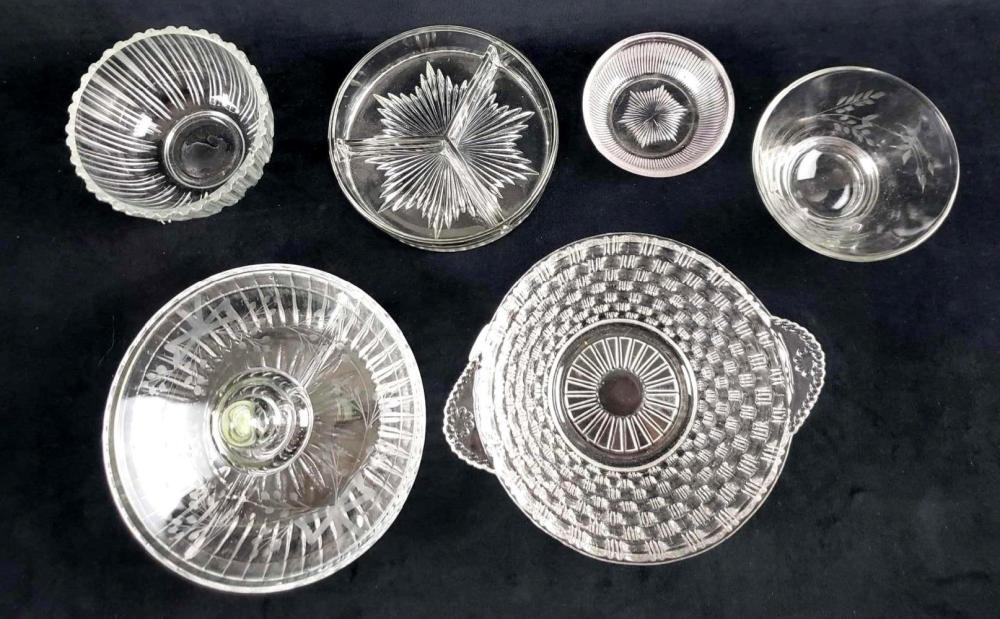 Lot of 6 Assorted Clear Glass Items