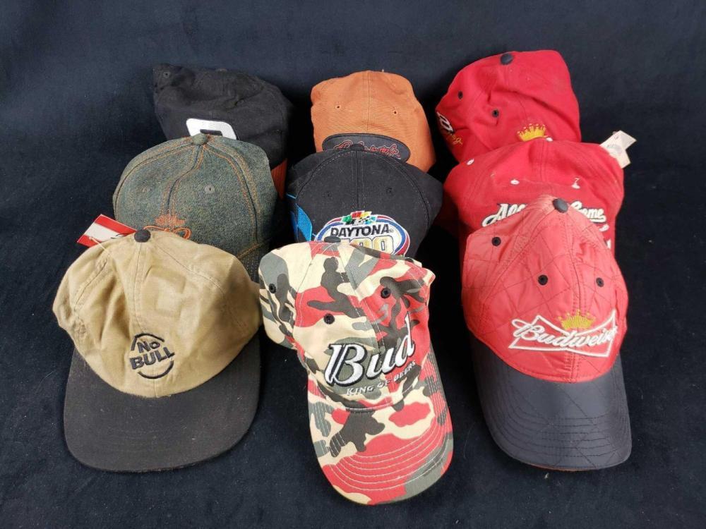 Lot of 9 Assorted Adjustable Baseball Caps